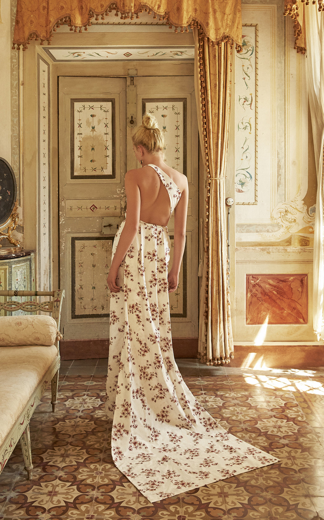 In Stock: Dido One-Shoulder Floral Brocade Gown
