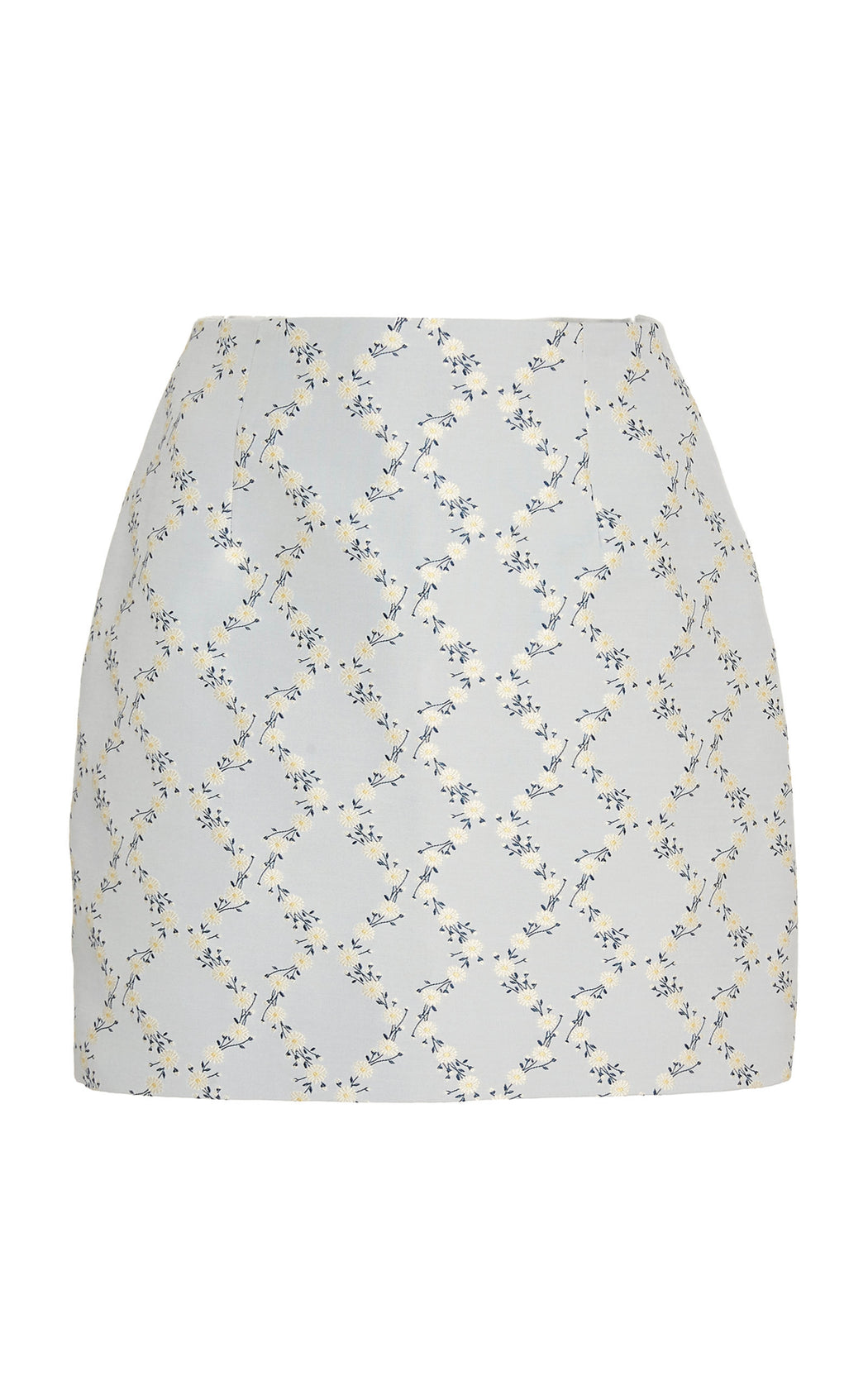 Loveliness Itself Blue Floral Lattice Skirt