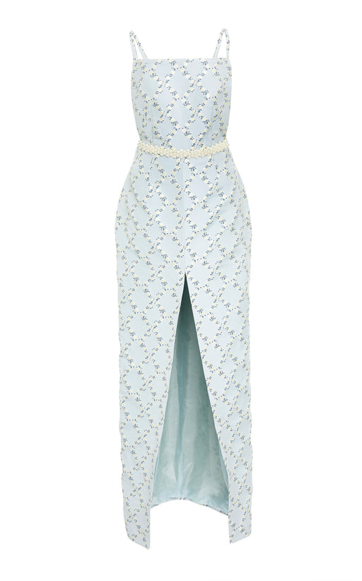Jane Blue Lattice Floral Gown