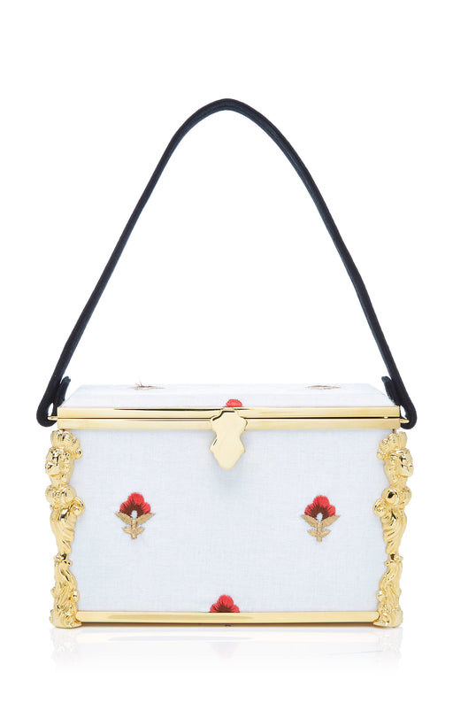 Emmeline White Floral Embroidered Box Bag
