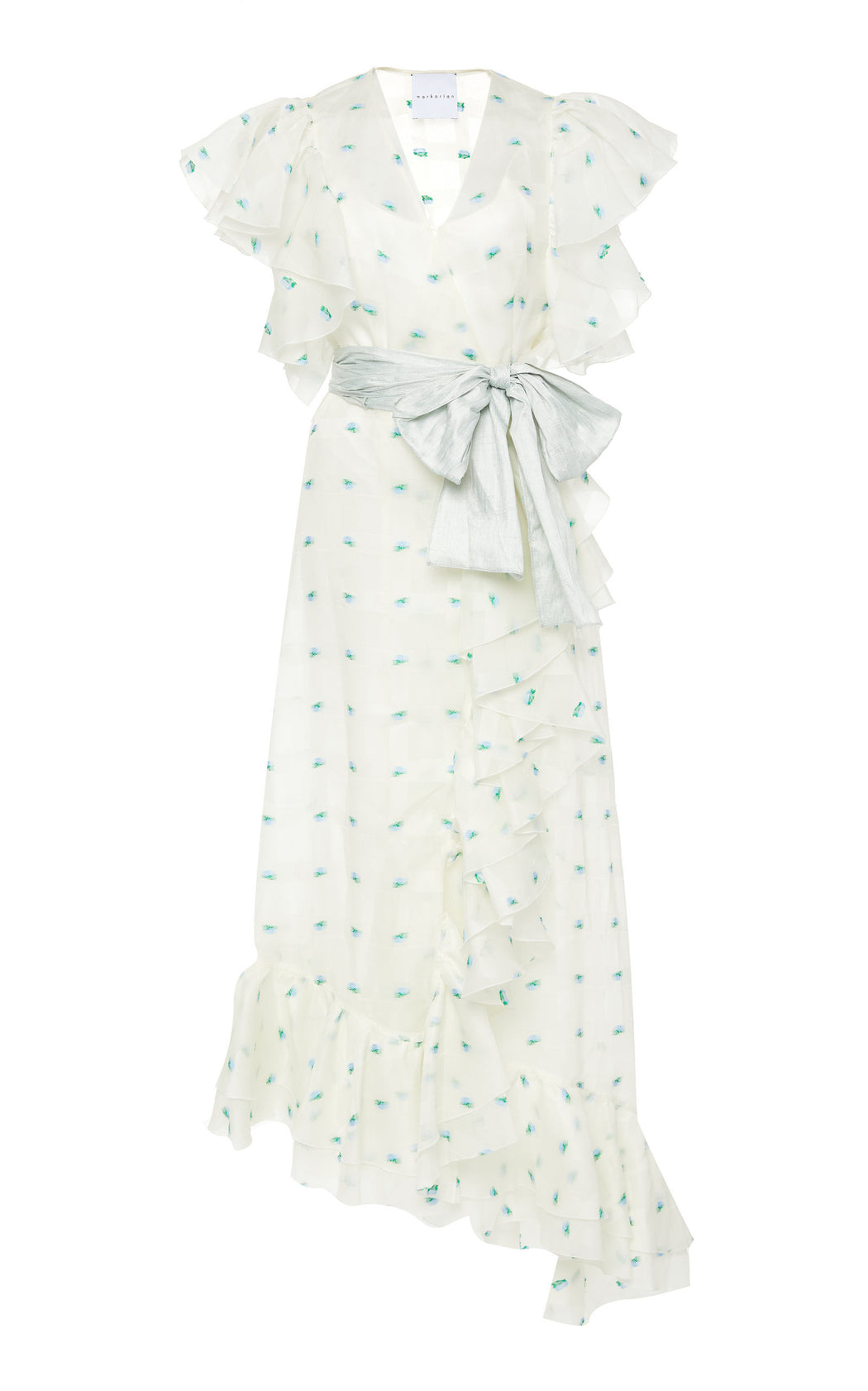 Fanny White Silk Floral Organza Dress