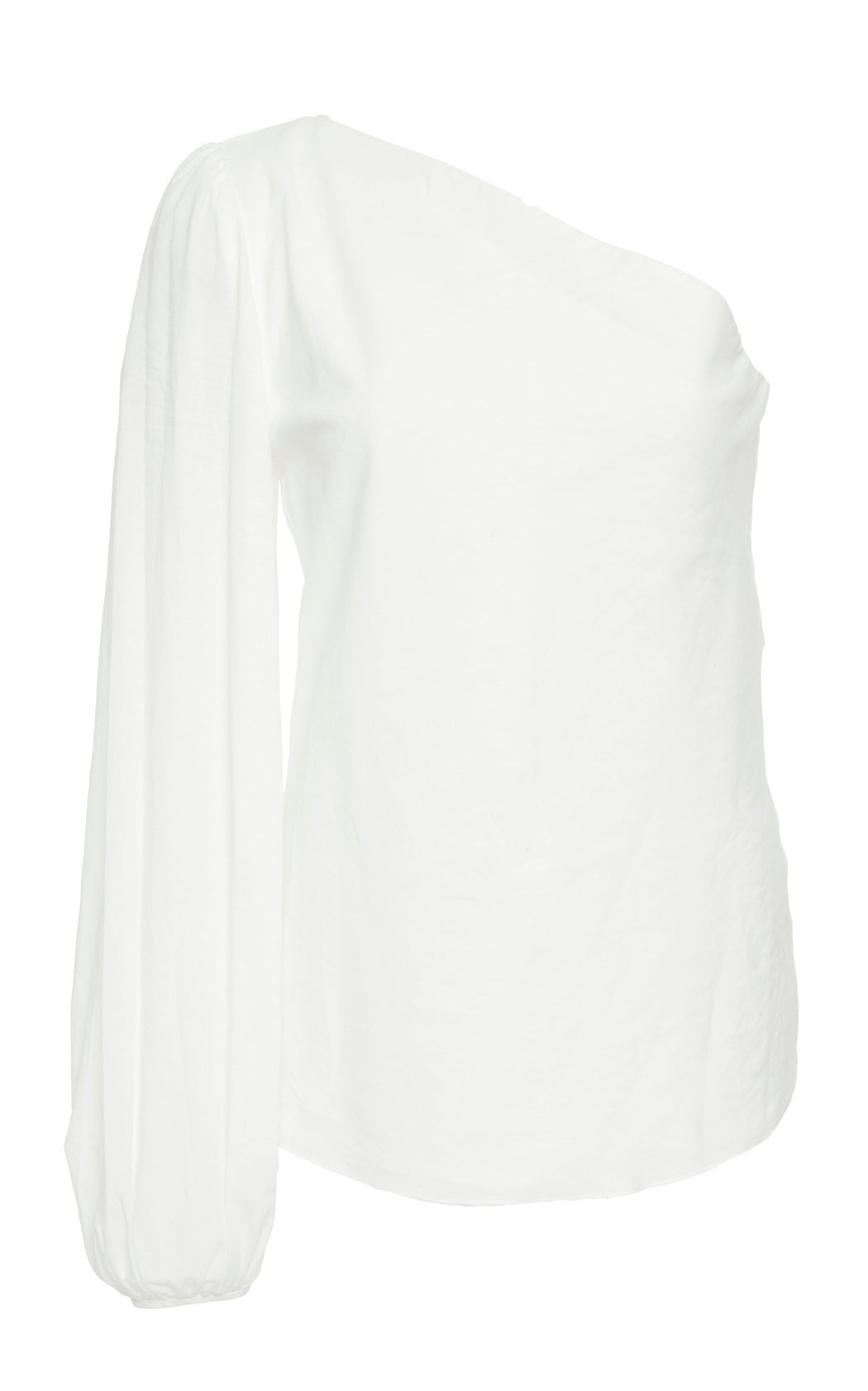 Maria White Cotton One-Shoulder Top