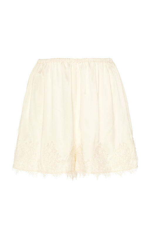 Thisbe Ivory Satin And Lace Shorts