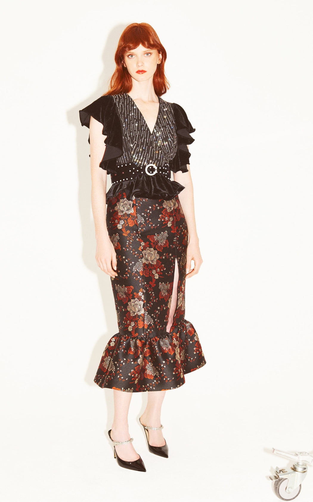 Let's Groove Floral-Brocade Skirt