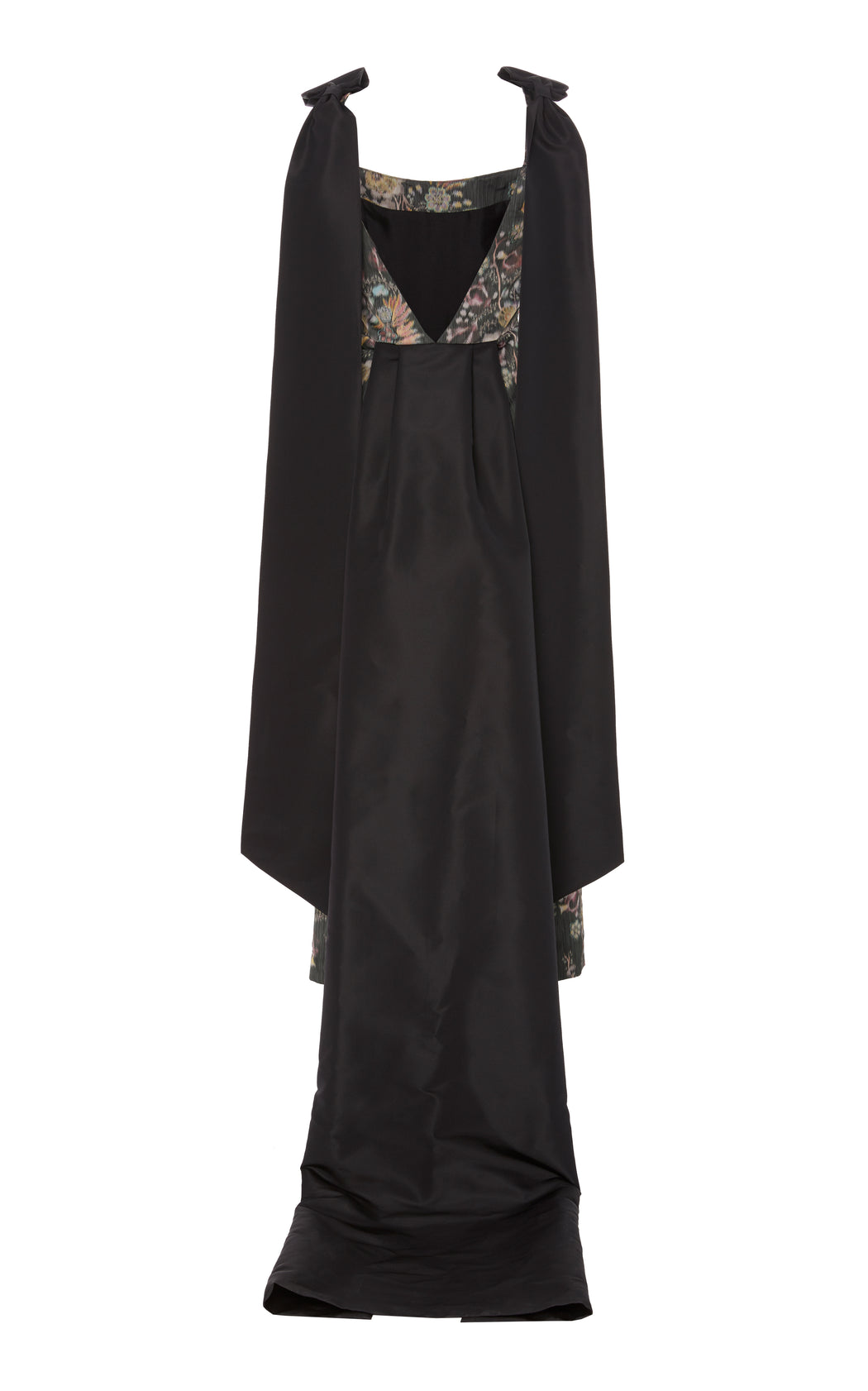 In Stock: Celestia Black Floral Brocade Dress with Taffeta Details