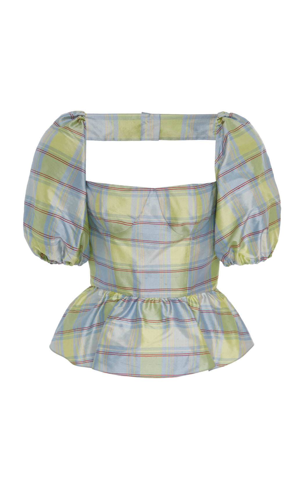 Sample Sale: Barber Blue Plaid Silk Peplum Top