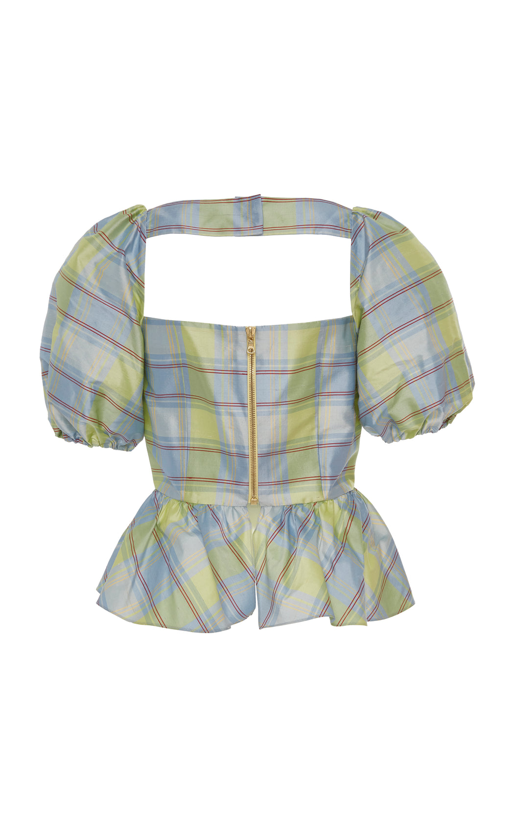 Barber Blue Plaid Silk Peplum Top