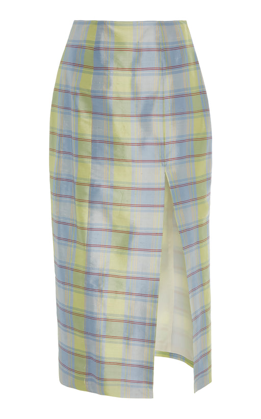 Blue Plaid Silk Midi Skirt