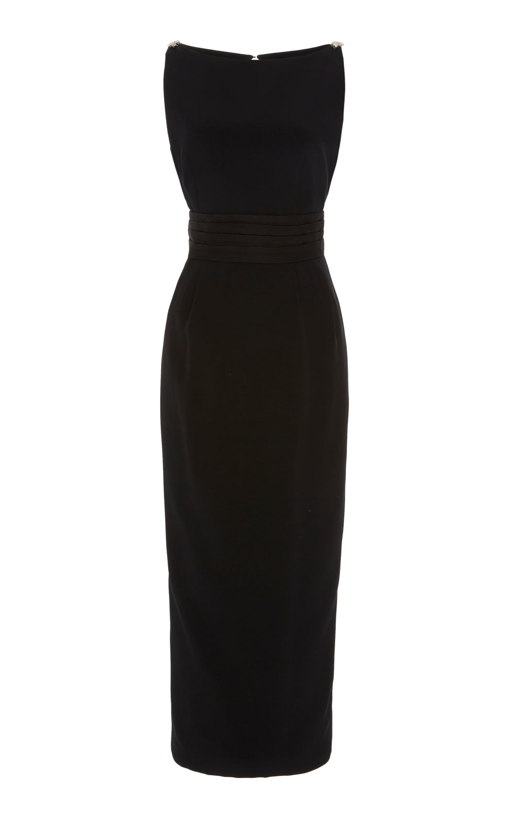 Black Silk Belted Midi Dress