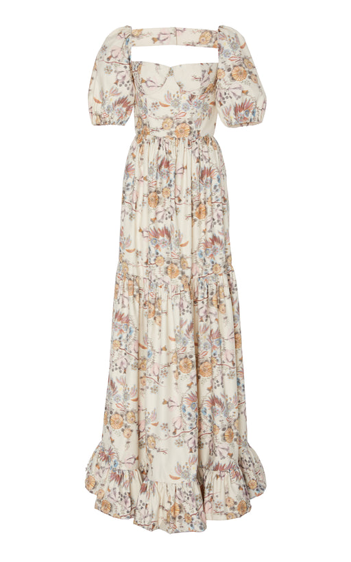 In Stock: Maddalena Pleated White Floral-Brocade Maxi Gown