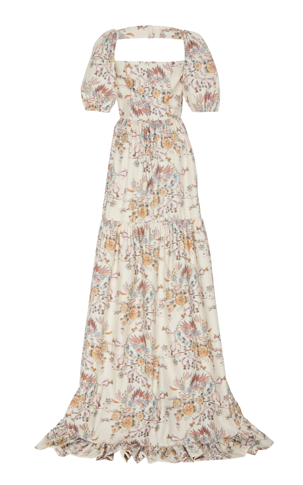 In Stock: Maddalena Pleated Cream Floral-Brocade Maxi Gown