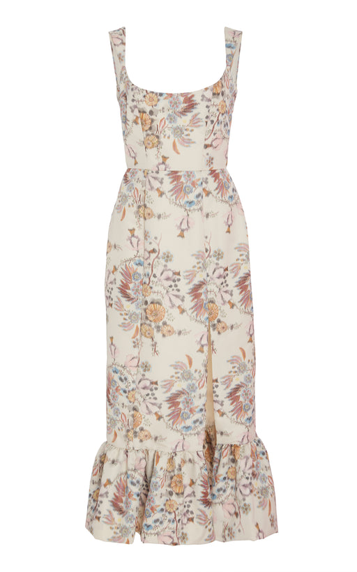 Ginevra White Floral Brocade Corset Dress