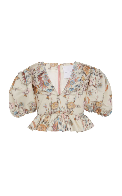 In Stock: Bernadetto Cream Floral Brocade Peplum Top