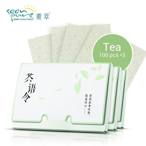 Image of Green Tea Oil Absorbing Sheets (3 Packs x 100 Sheets) - The Trendy Hero