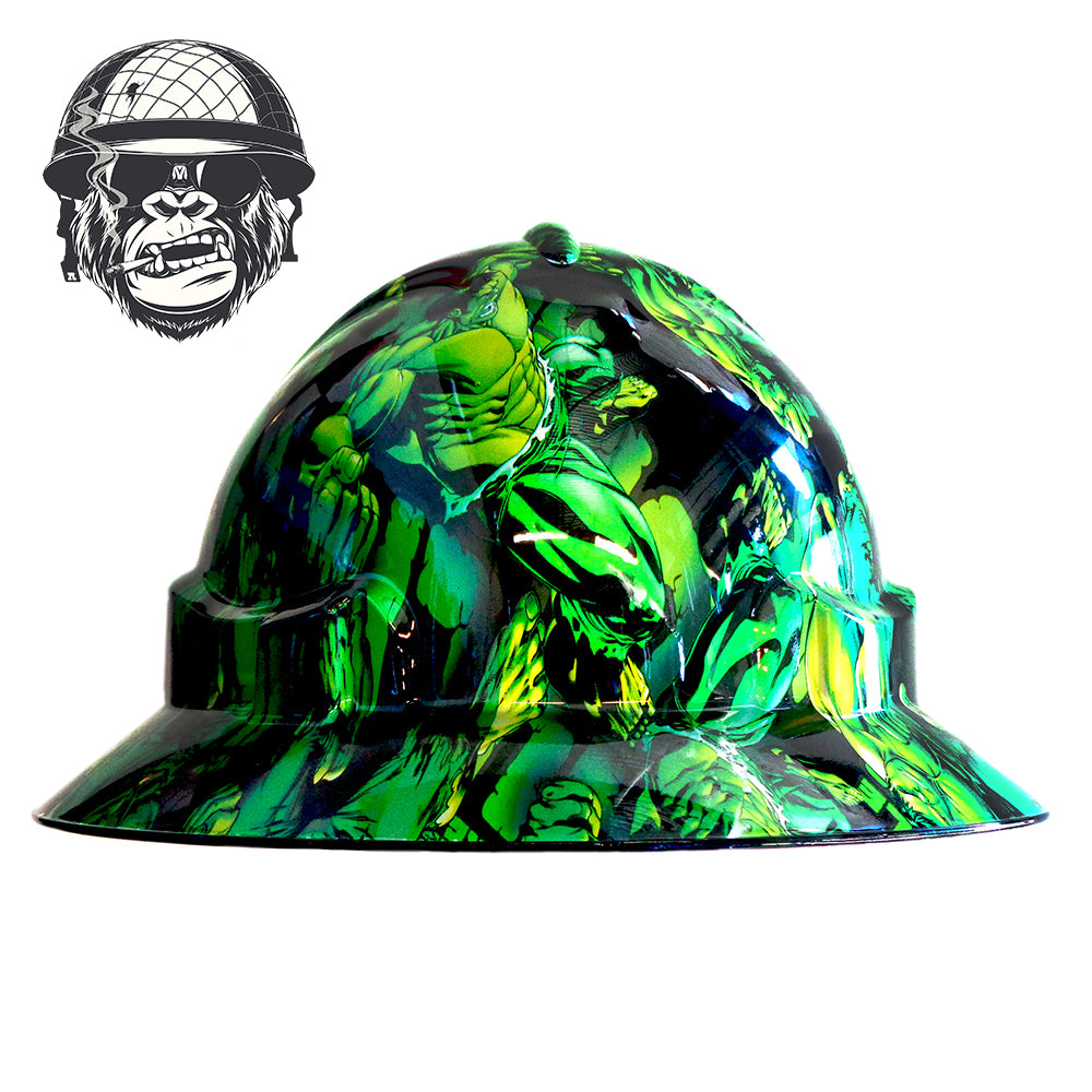 Full brim hard hat with bad ass hydro-dipped graphic