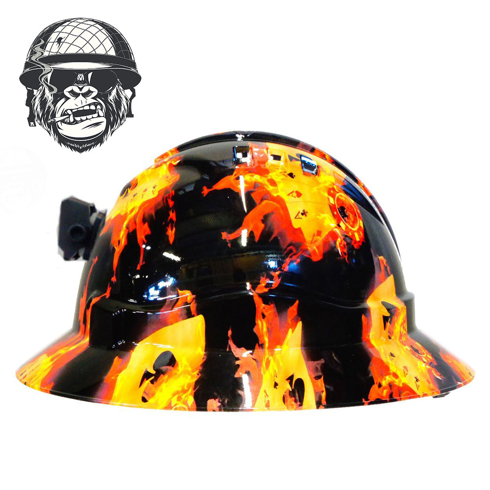 Miner hard hat with Lap attachment and battery holder. Hydro-dipped flaming poker cards