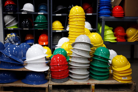 Hard hats of different colours