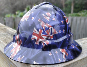 Full brim hard hat with hydro dipped new Zealand flag