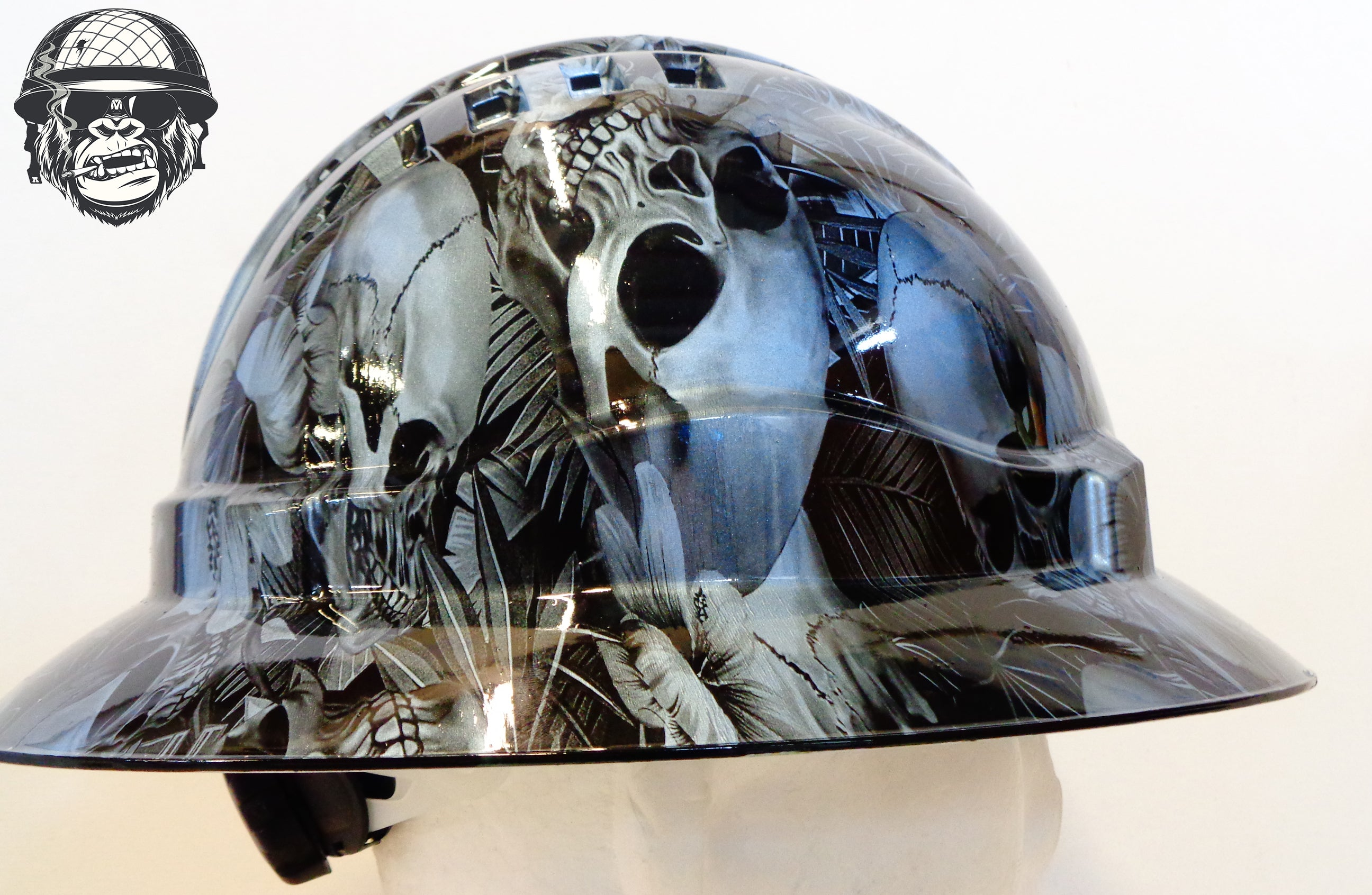 Full Brim - Skull and Flowers; Cool Hard Hats NZ