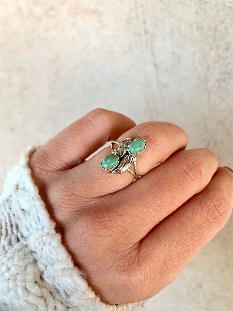 *2 Stone Green Turquoise Navajo Ring