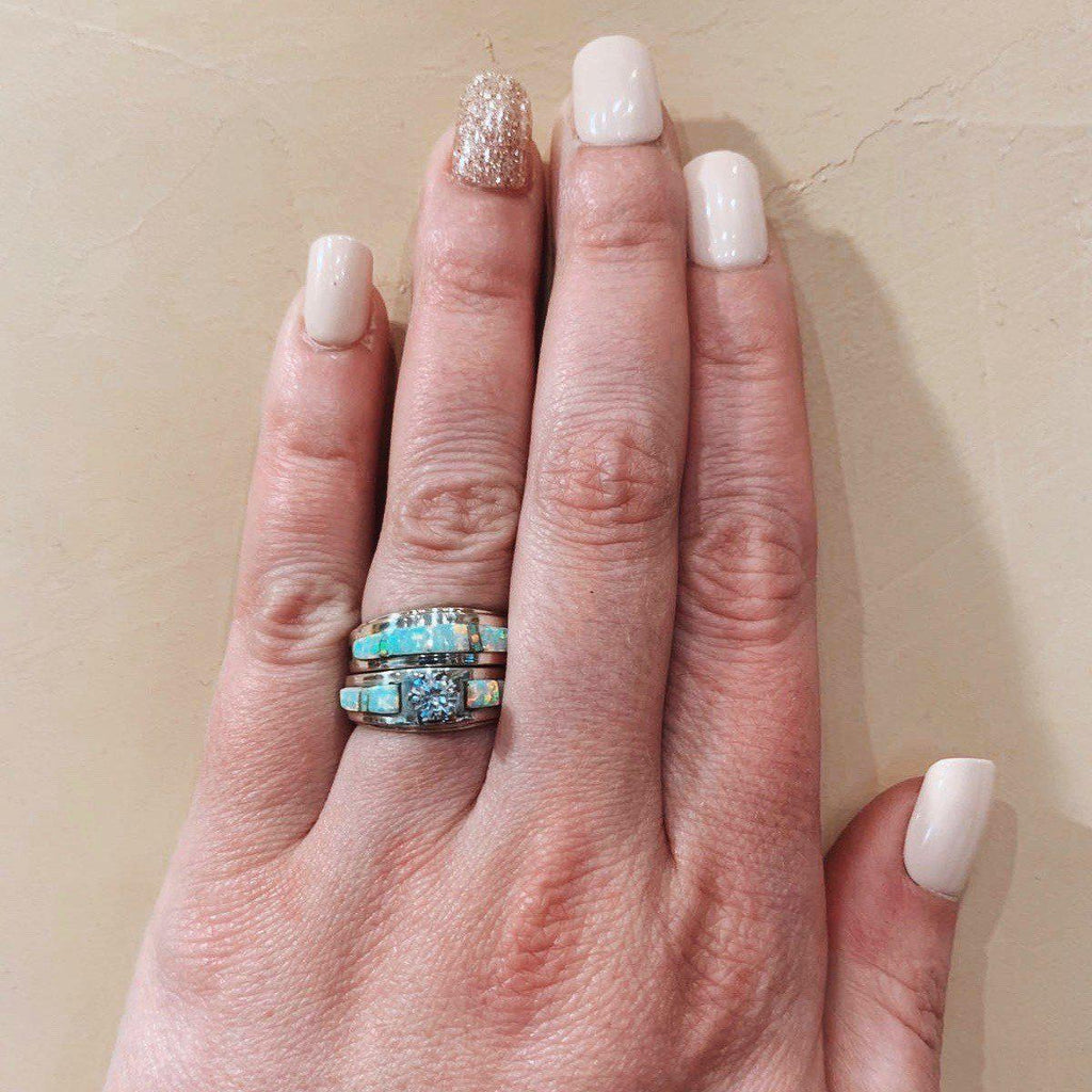 *RTS Zuni WHITE OPAL Wedding Stacker Rings
