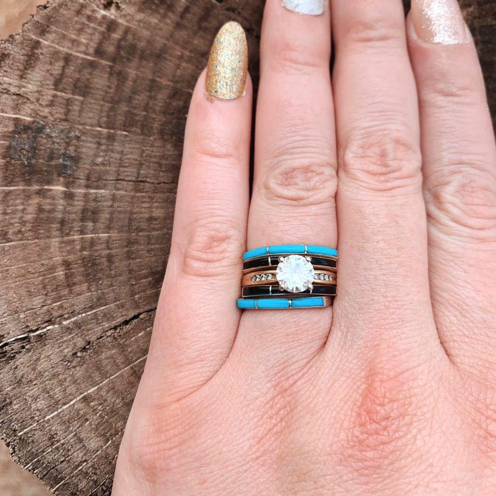 *Super Thin Zuni Jet Black Stacker Ring