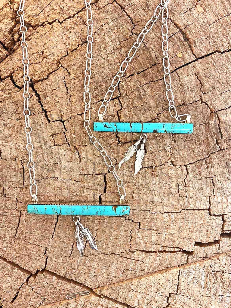 *RTS TURQUOISE Bar Necklace with Feathers