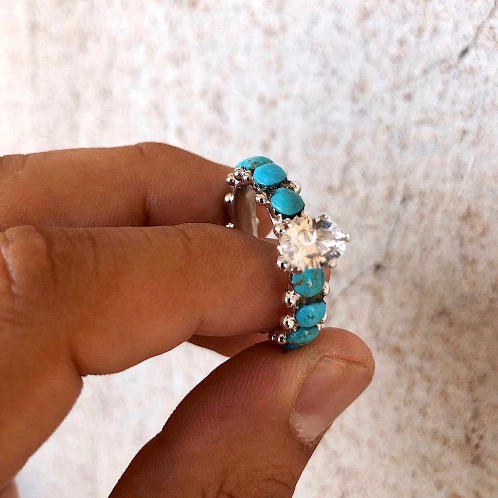 **Turquoise+Starburst Cut Crystal Eternity Ring