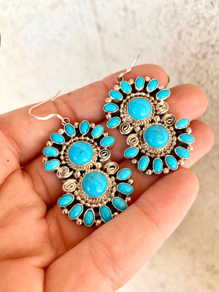 *RTS Navajo Kingman Flower Earrings