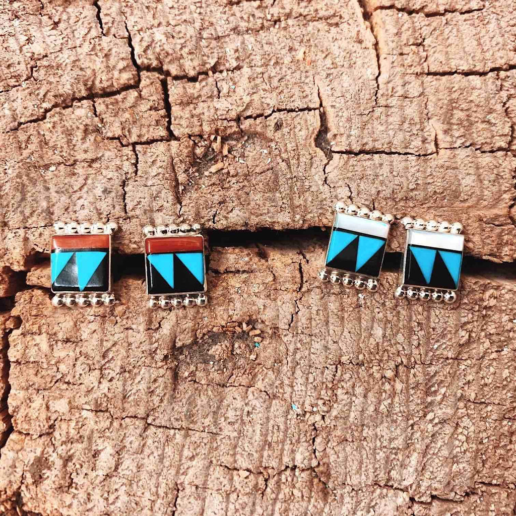 *RTS Zuni Inlay Square Stud Earrings