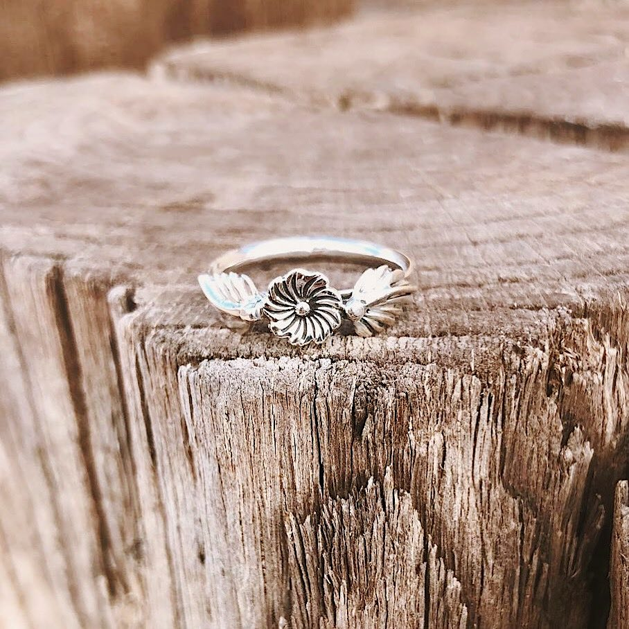 *Sterling Silver Flower Stacker Ring