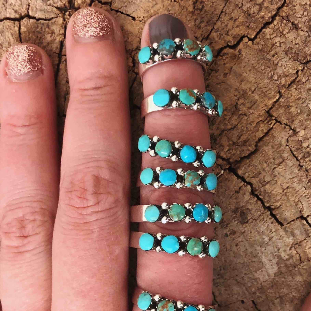 *4 Stone TURQUOISE Stacker Ring