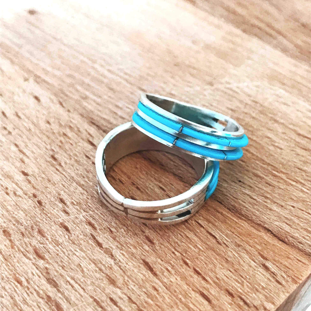 *2 Row Turquoise Inlay Stacker Ring