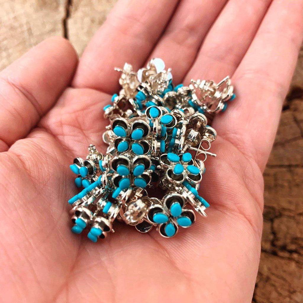 *4 Stone Zuni Turquoise Flower Stud Earrings
