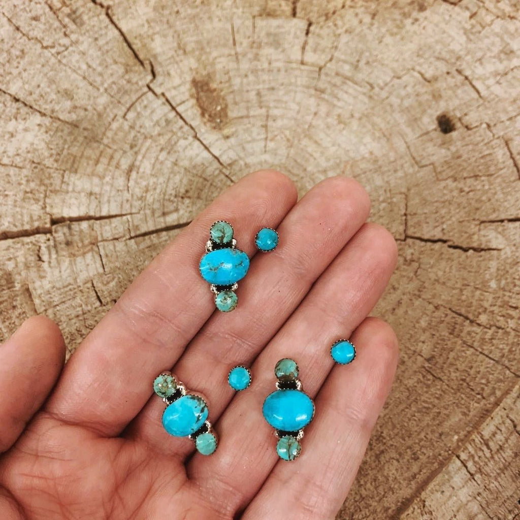 *Round Turquoise Ear Crawlers