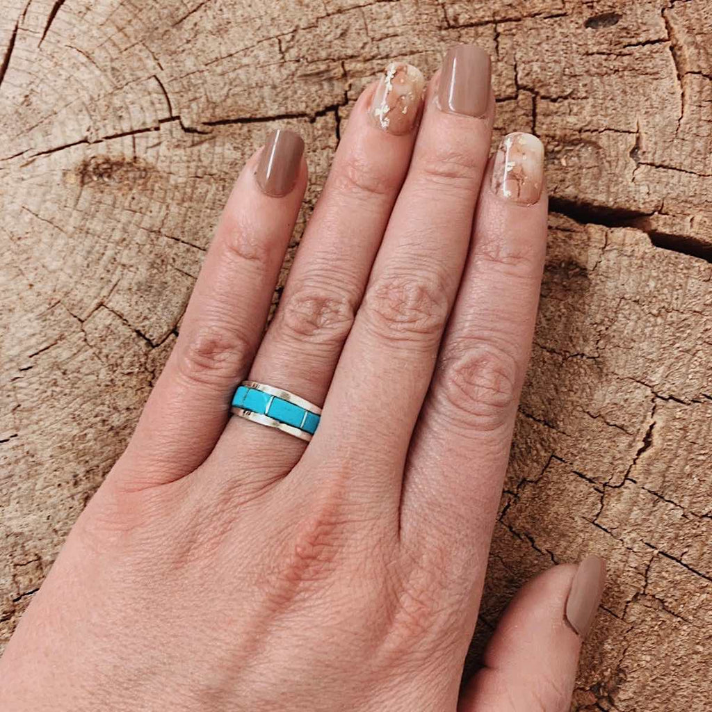 Navajo Made Turquoise Inlay Ring