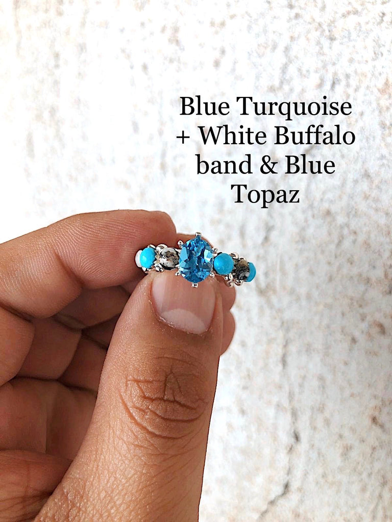 *WHITE BUFFALO+TURQUOISE Starburst Eternity Ring