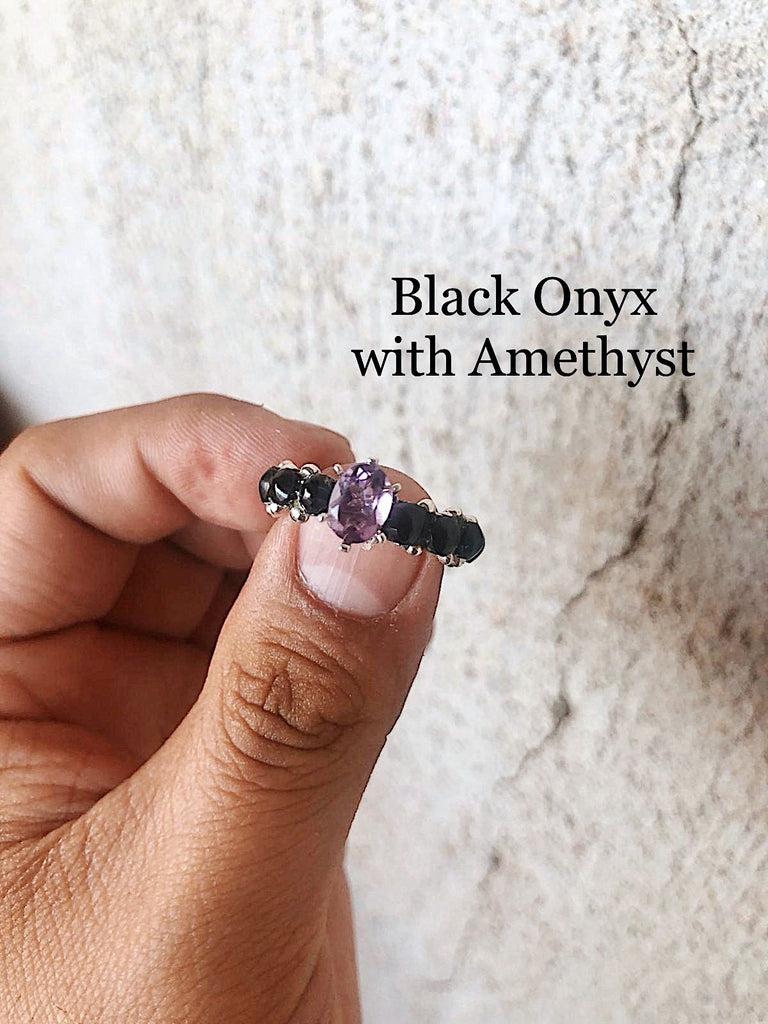 *Black Onyx+Starburst cut Crystal Eternity Ring