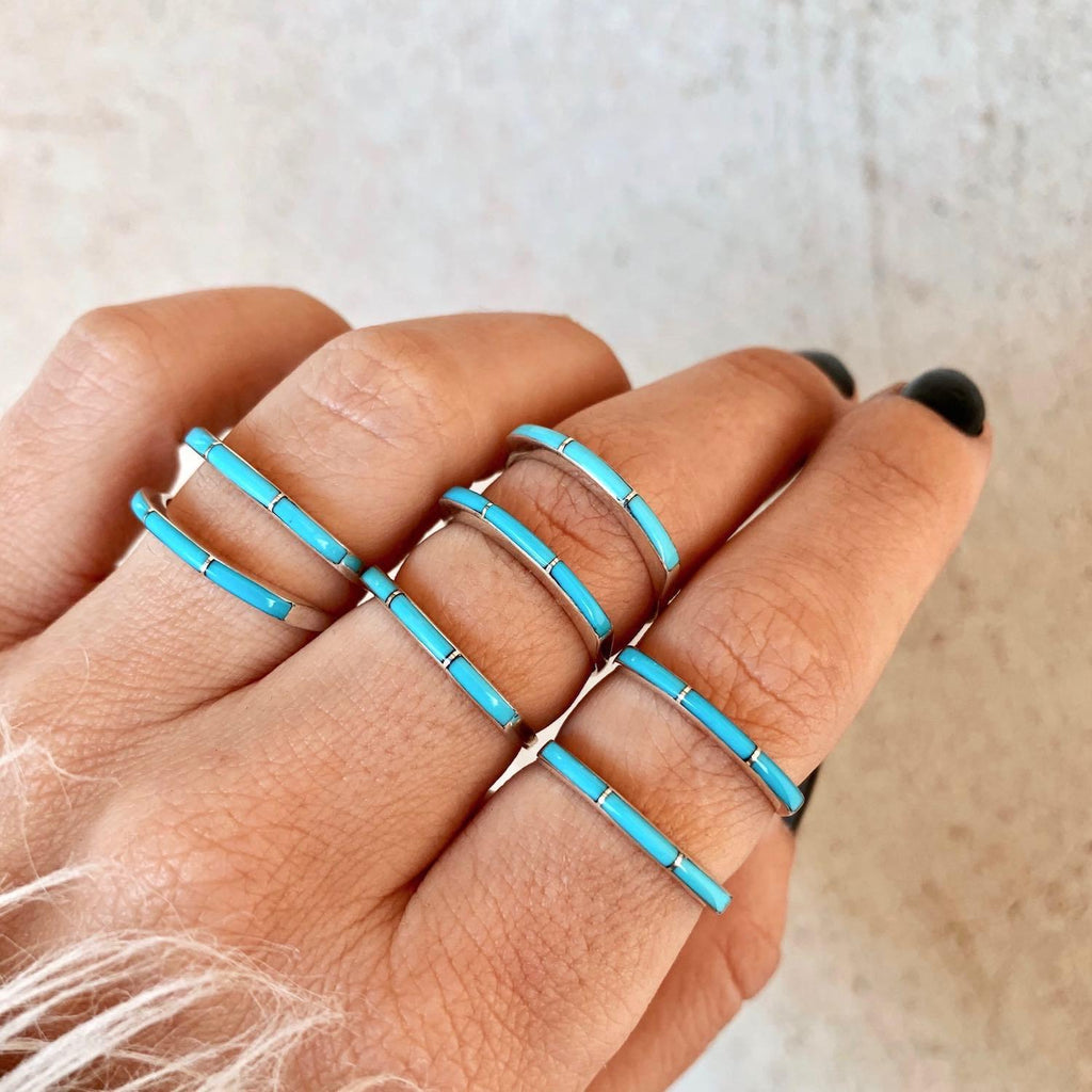*RTS Super Thin Zuni Turquoise Stacker Ring