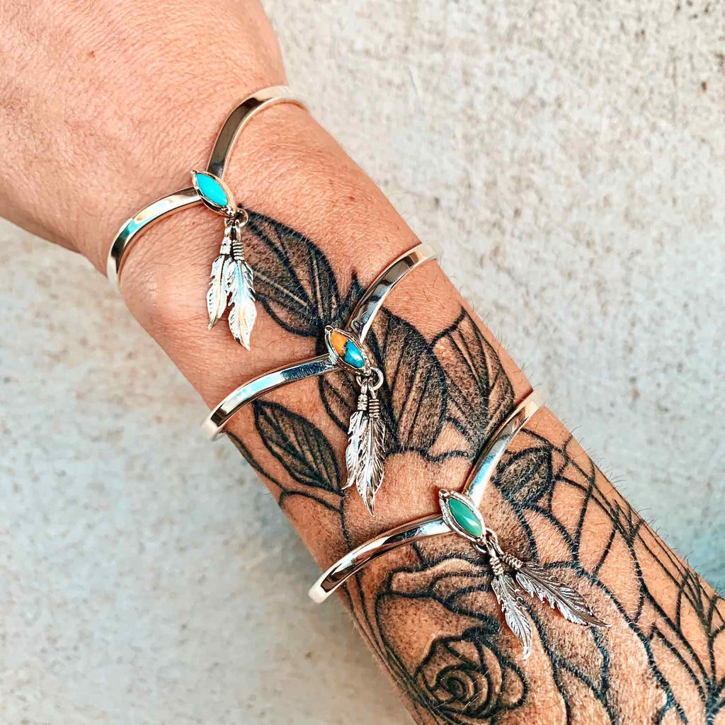 *Turquoise Feather Cuff Bracelet