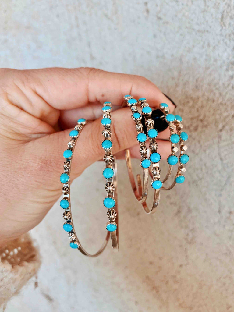 *Turquoise Hoop Earrings 3 SIZES