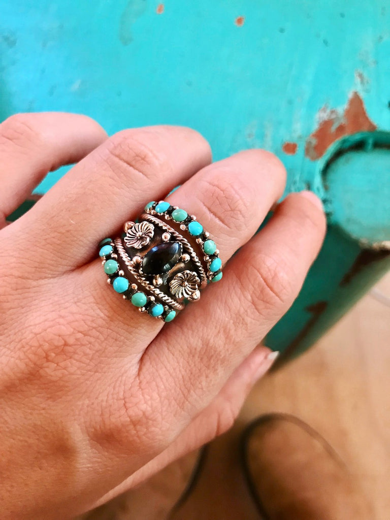 *Turquoise Curve Stacker Ring Band