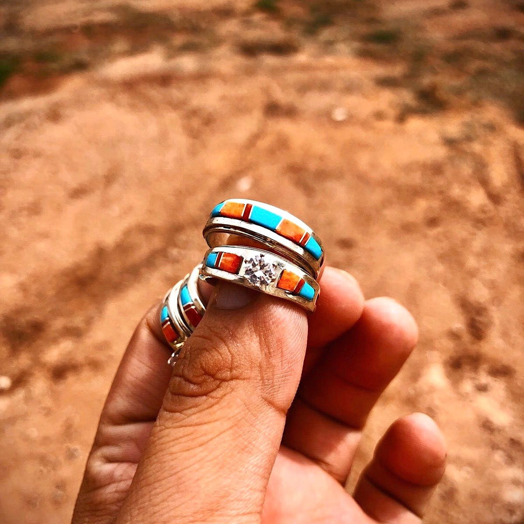 *RTS SPINEY MIX Turquoise Wedding Rings 2pc