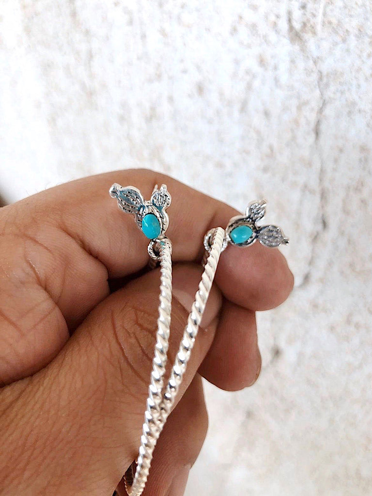 *PRICKLY PEAR Cactus Turquoise Hoop Earrings