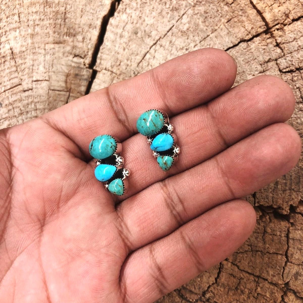 *3 Stone Turquoise Ear Climber