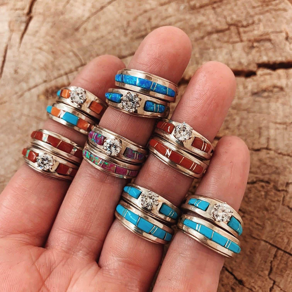 *RTS Zuni Turquoise Wedding Stacker Rings