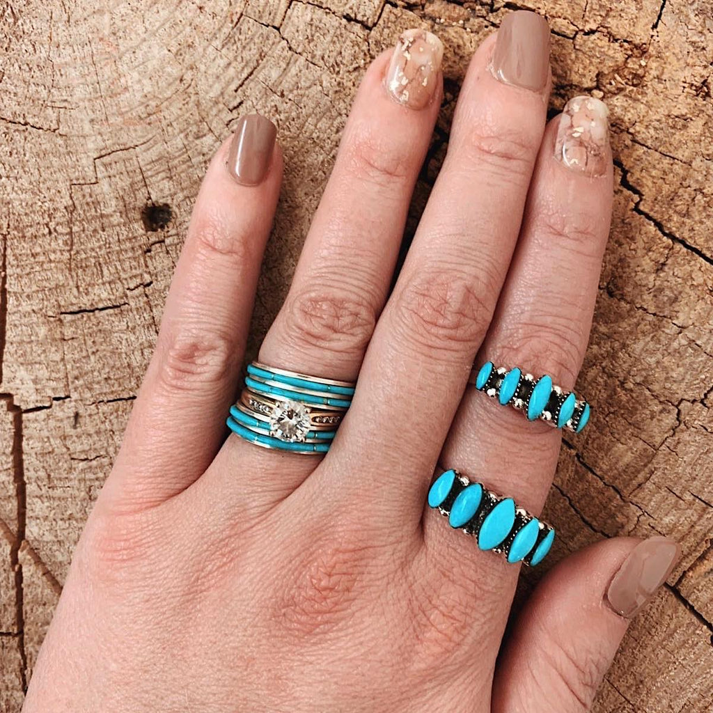 *5 Stone Marquise Turquoise Ring