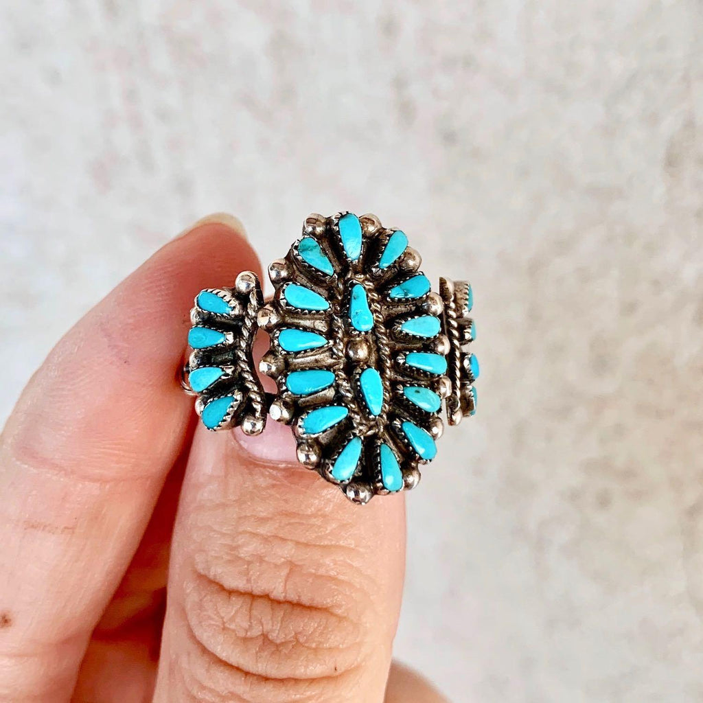 *Zuni Turquoise Cluster Ring OBSESSION