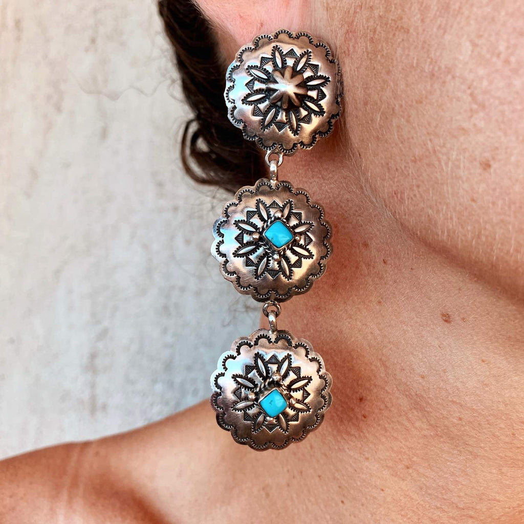 *Sterling Silver Concho Dangle Earrings