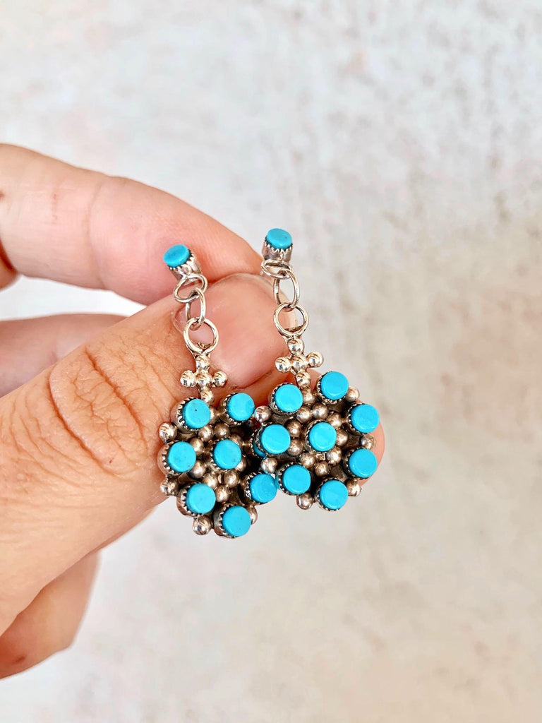 *RTS Turquoise Cluster Dangle Earrings